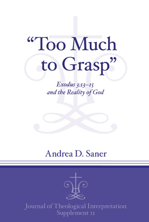 "Cover image for ""Too Much to Grasp"": Exodus 3:13-15 and the Reality of God By Andrea D. Saner"