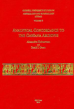 Cover image for CUSAS 04: Analytical Concordance to the Garšana Archives By Alexandra Kleinerman and David I. Owen